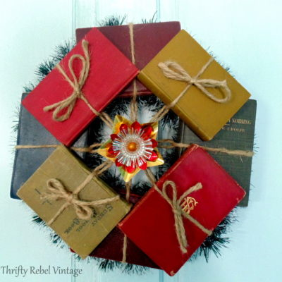 repurposed vintage and antique mini book wreath