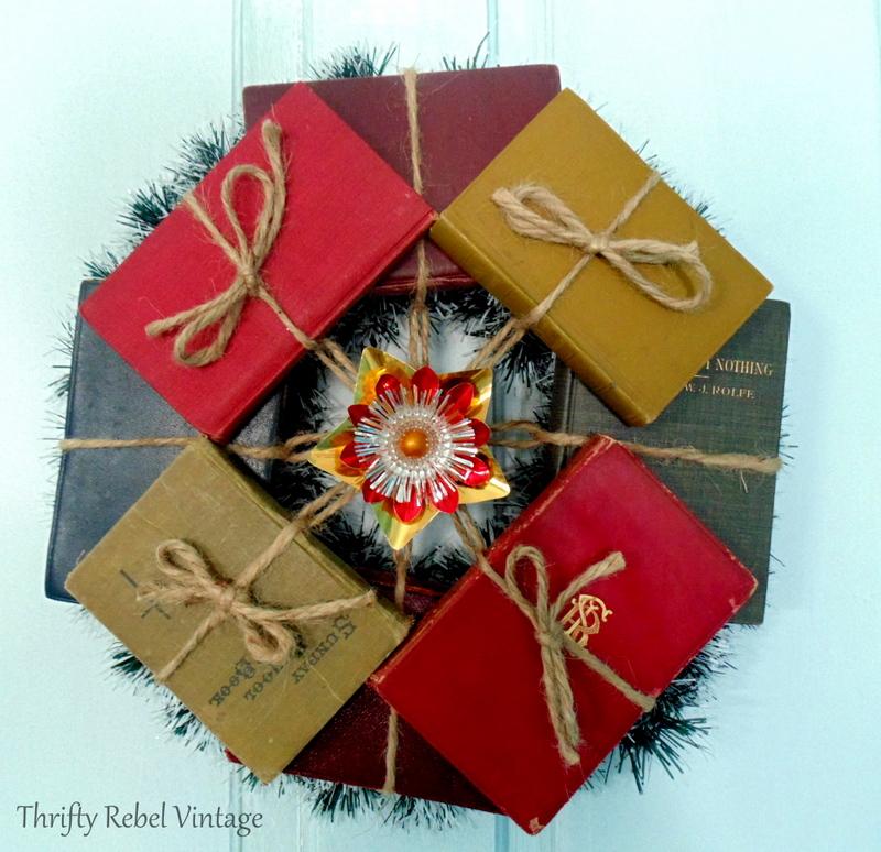 repurposed vintage and antique mini book wreath