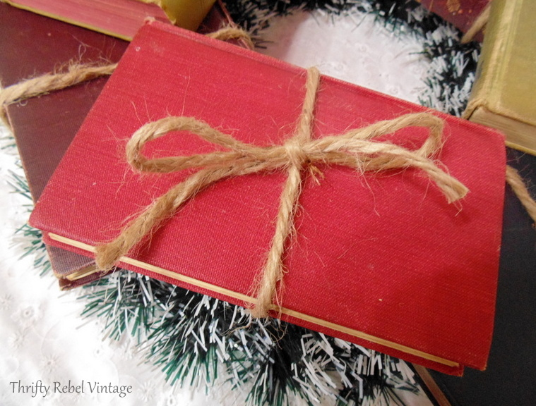 top layer of vintage book on book wreath