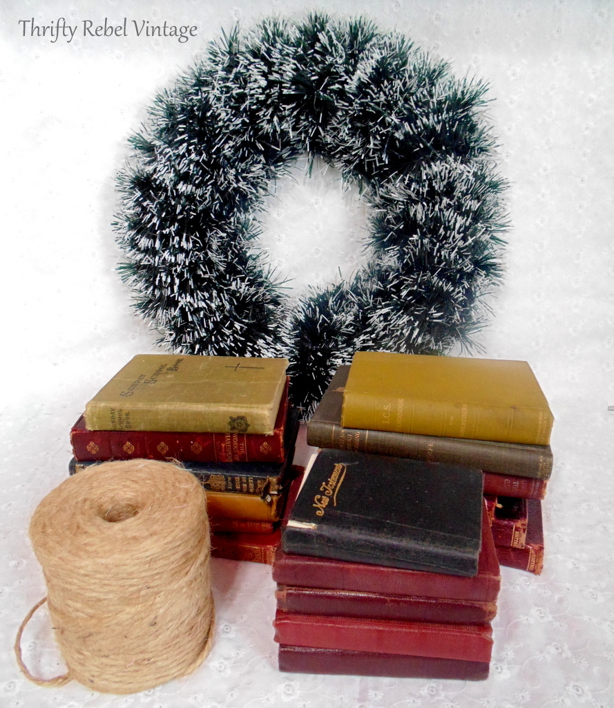 vintage books and twine for book wreath