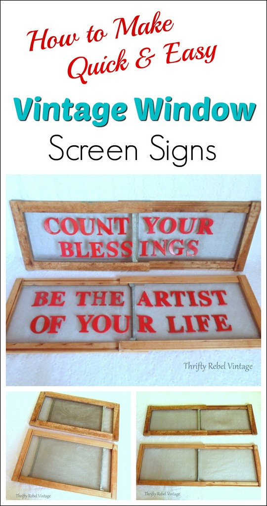 How to Make a Quick & Easy Vintage Window Screen Sign
