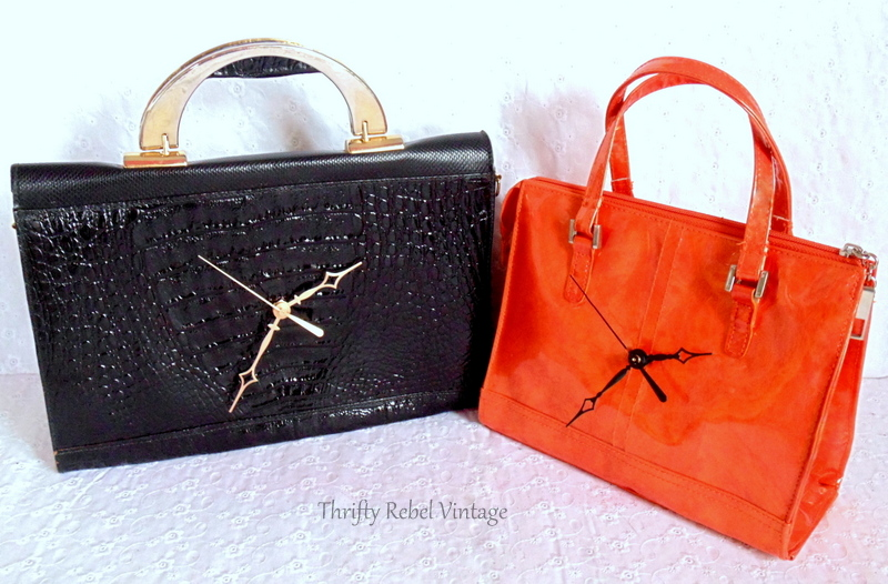 black leather purse clock and orange vinyl purse clock