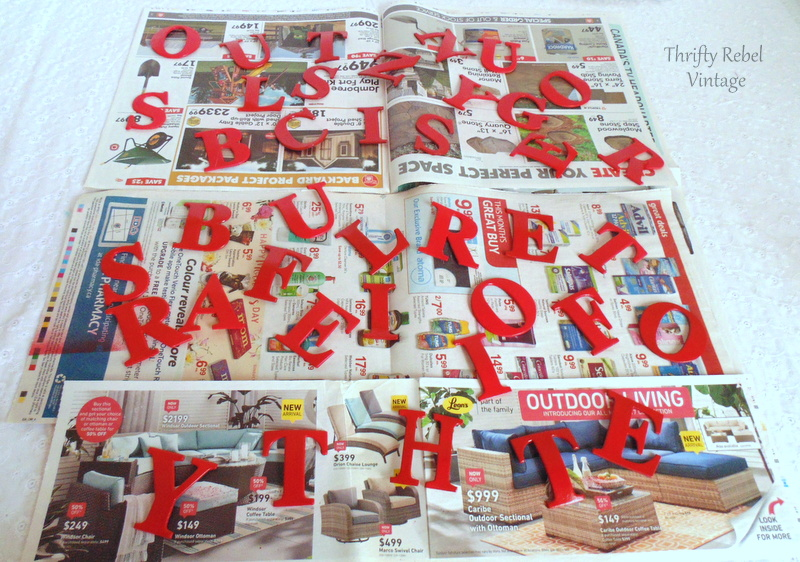 red spray painted dollar store foam letters used for making vintage window screen sign
