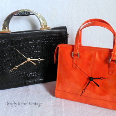 repurposed black purse clock and orange purse clock 2