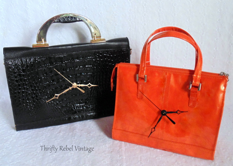 repurposed black clock purse and orange clock purse
