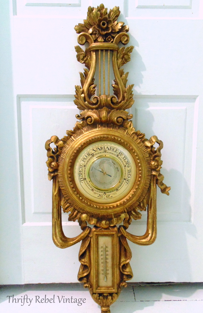 Vintage hand carved barometer Made in Italy 1