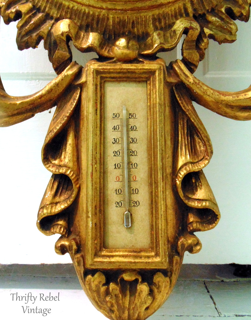Vintage hand carved barometer Made in Italy 7