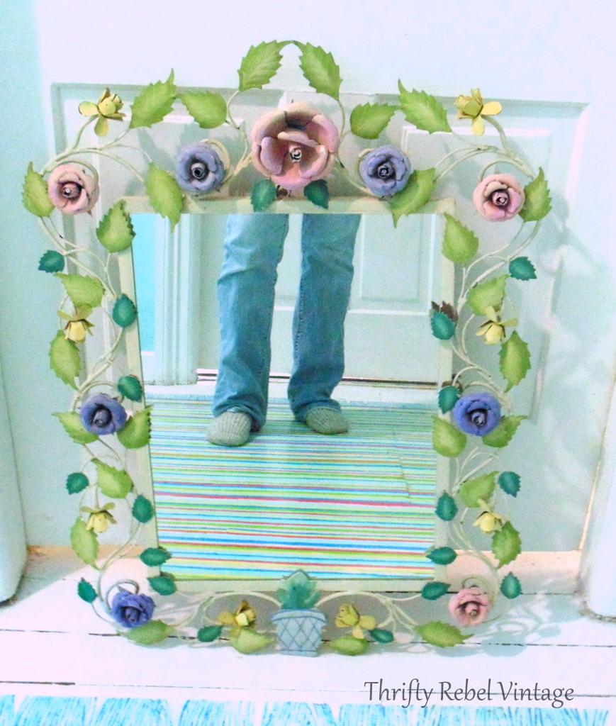 large metal floral framed mirror 1