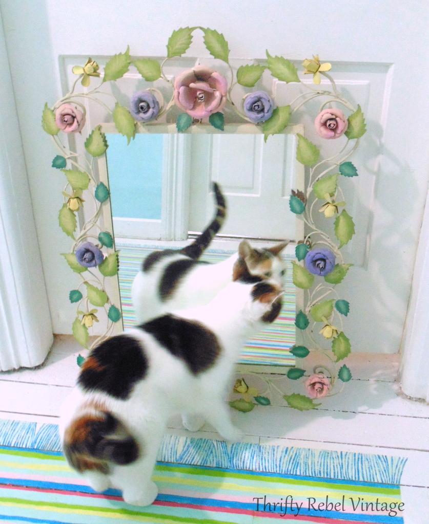 large metal floral framed mirror 2
