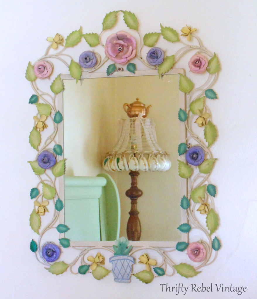 large metal floral framed mirror 8a