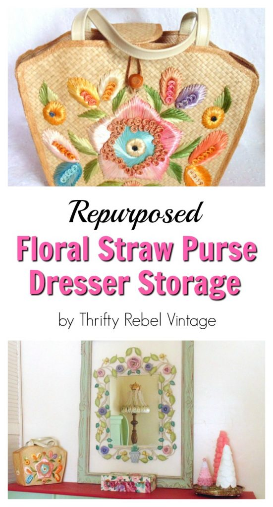 repurposed straw purse organizer for bedroom dresser