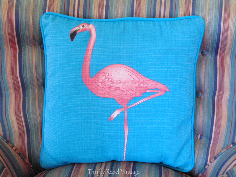 turquoise and pink flamingo pillow for living room inspiration