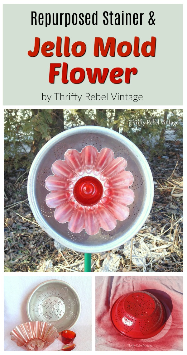 Add some whimsy to your garden by creating a repurposed strainer and jello mold flower.