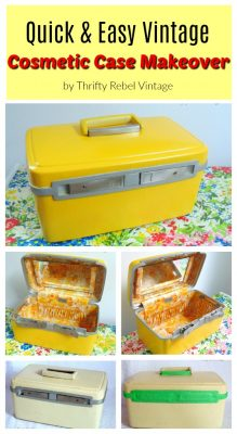Vintage cosmetic case makeover collage