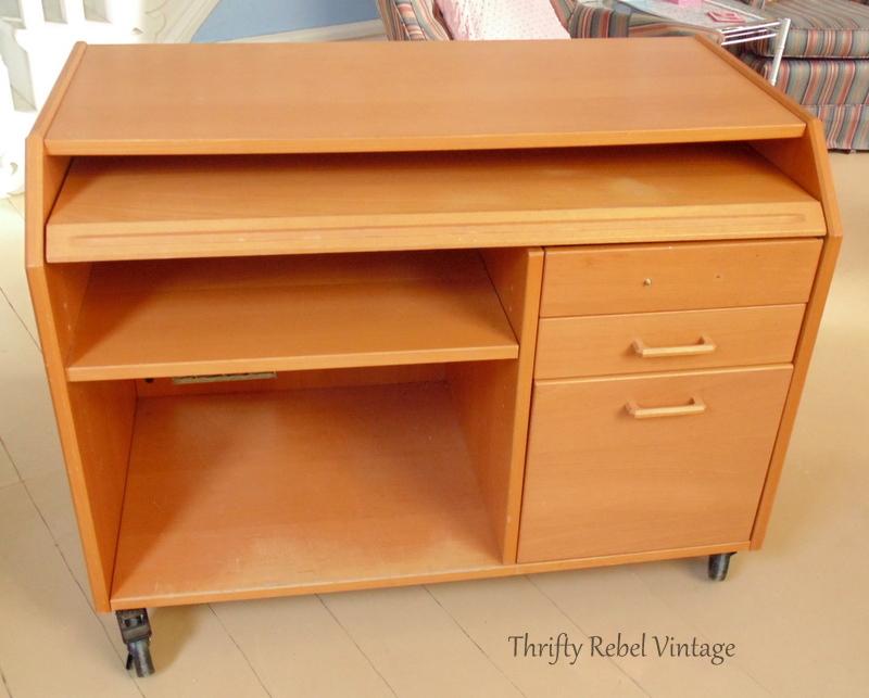 orange wooden desk makeover before