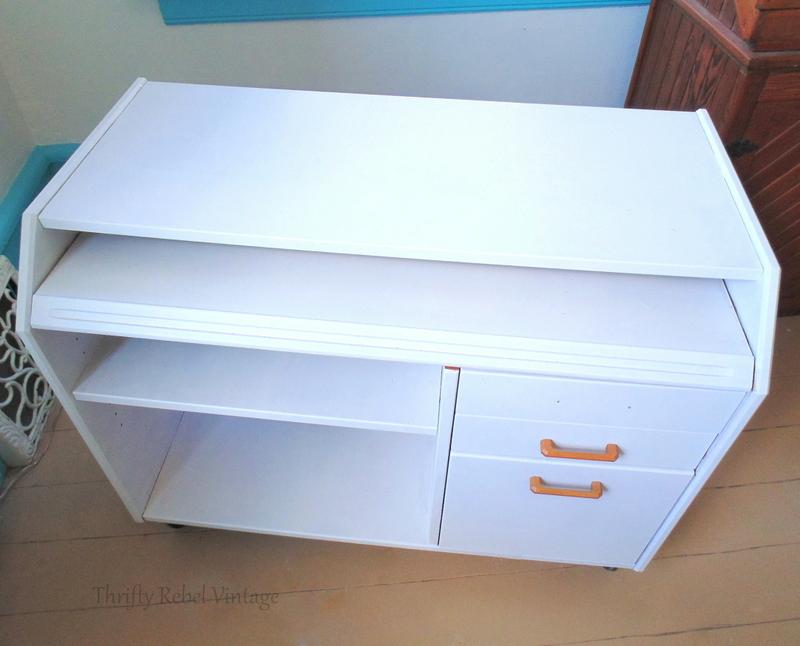 wooden desk painted white before decoupaging