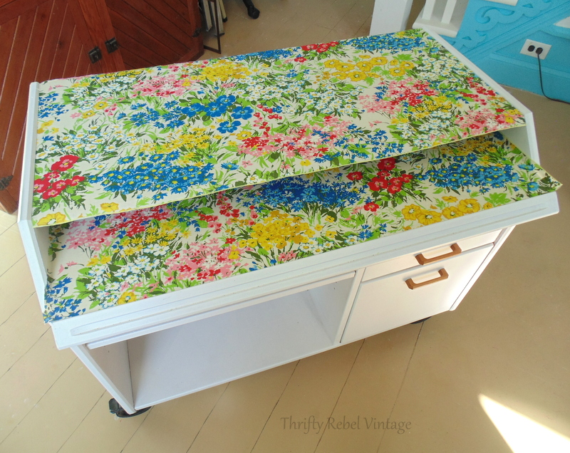 repurposed floral tableclothl decoupaged desk makeover