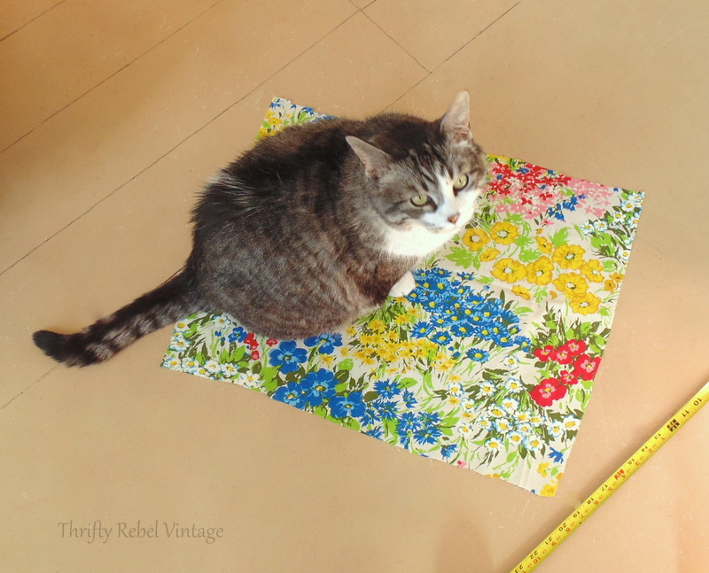 My project assistant Monkey helping with the fabric for decoupaged desk makeover