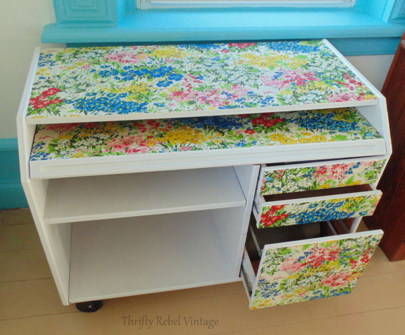 floral fabric decoupaged desk makeover