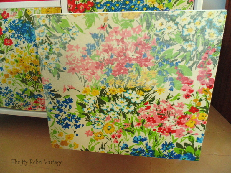 decoupaging floral fabric covered drawers for desk makeover