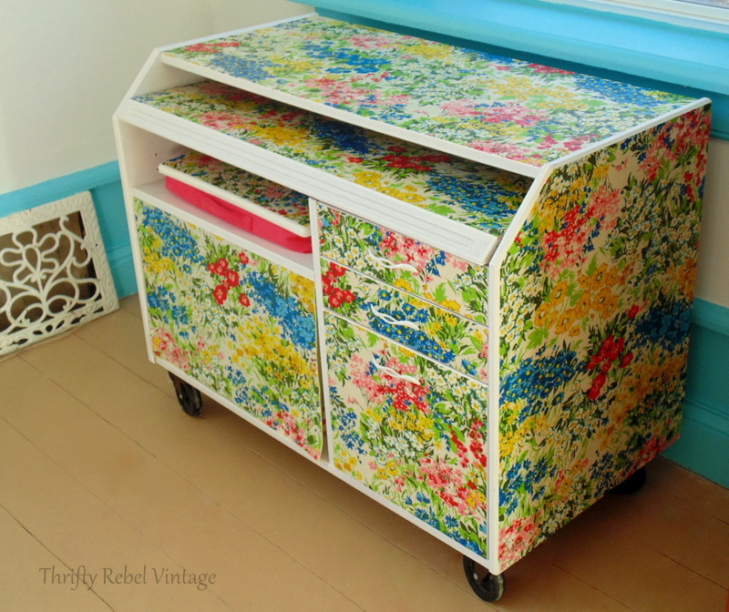 repurposed floral tablecloth decoupaged desk makeover