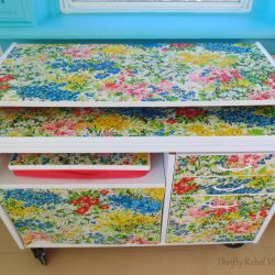 Repurposed Tablecloth Decoupaged Desk Makeover