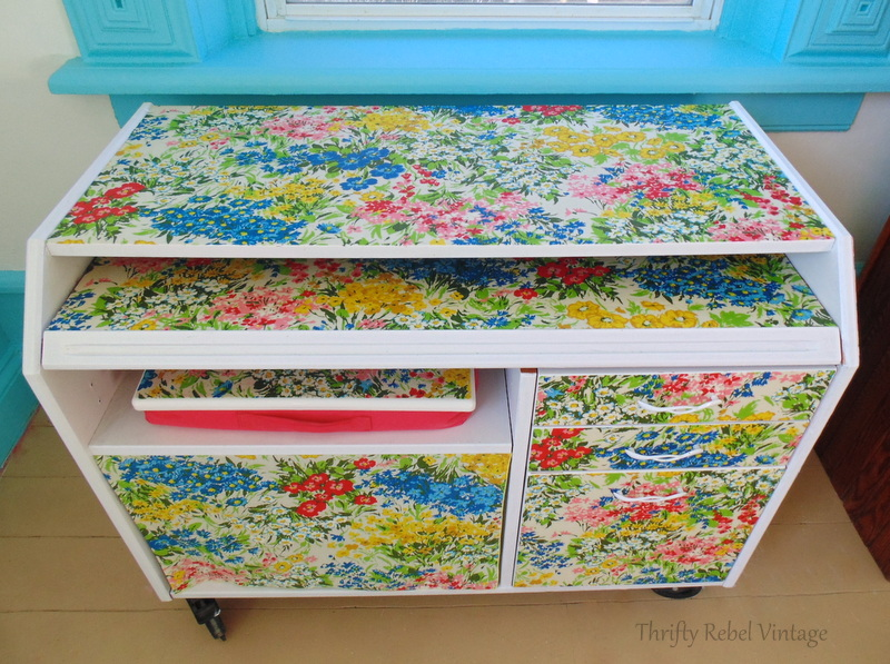 Repurposed Tablecloth Decoupaged Desk Makeover , Color Me