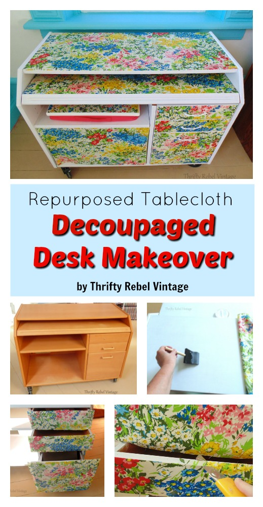 A decoupaged desk makeover is a fun way to give a dated wooden desk a completely new look to match with any decor.