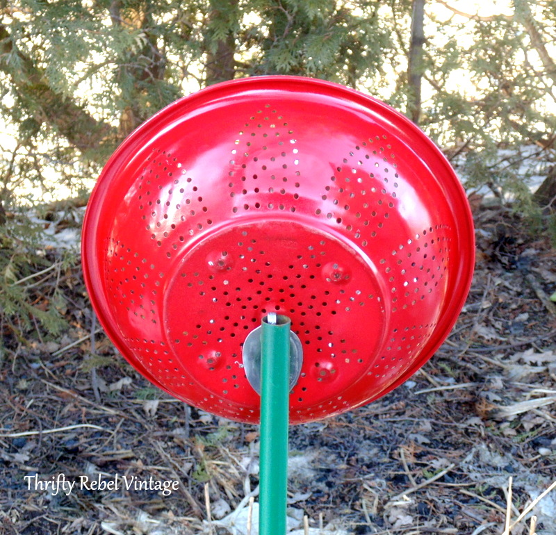 repurposed strainer and jello mold flower back view