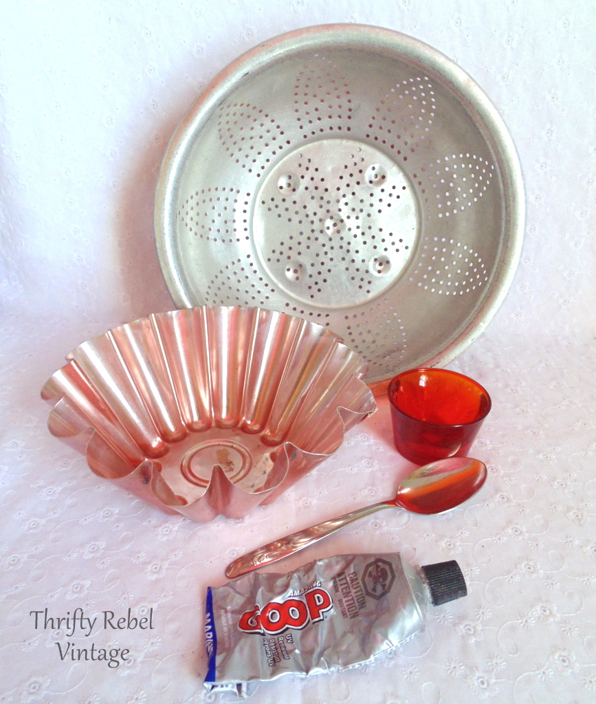 repurposed strainer and jello mold flower supplies