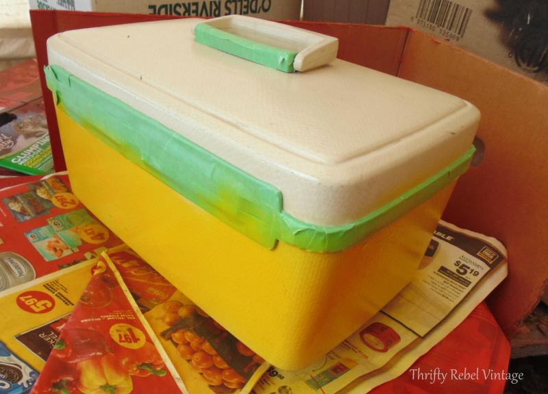spray painting boring beige vintage cosmetic case yellow