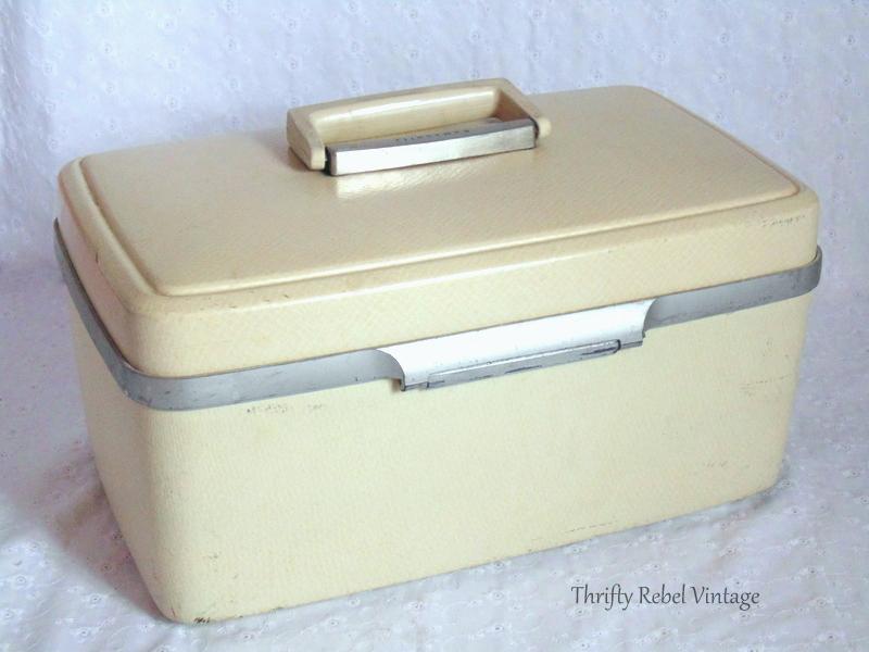 vintage beige cosmetic case makeover back before