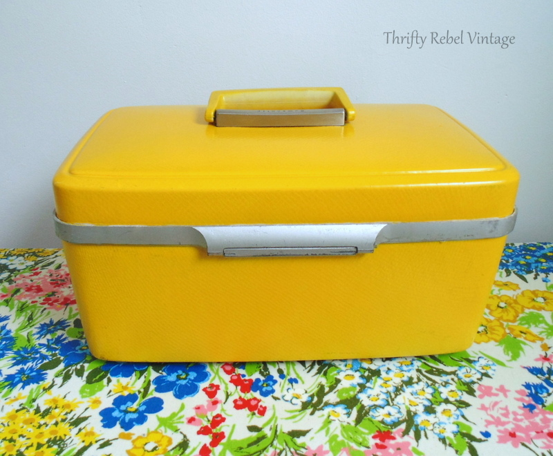 vintage train case makeover by spray painting back view after 1