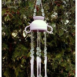 Hand Stamped Spray Painted Silverware Wind Chime