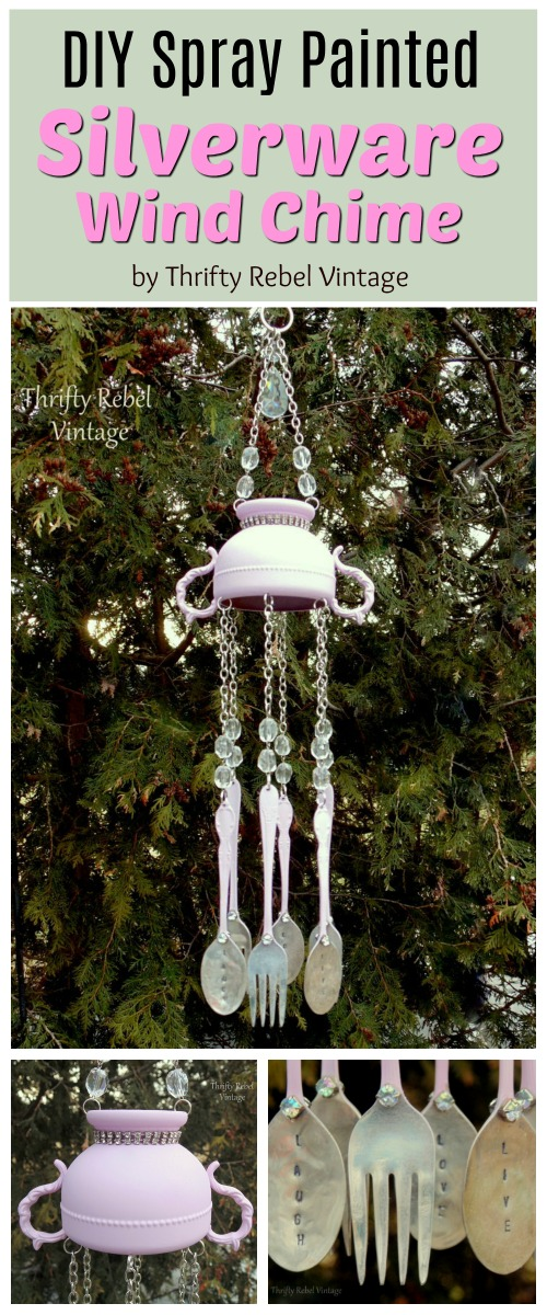 How to create a spray painted silverware wind chime using hand stamped spoons and forks and a silver plate sugar bowl