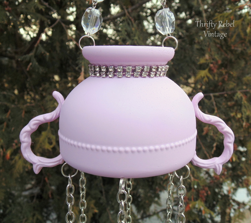 Painted Pink silver Plate Sugar Bowl Wind Chime