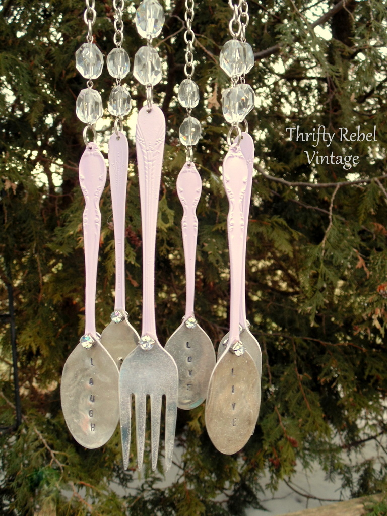 Silverware spray painted pink for diy wind chime