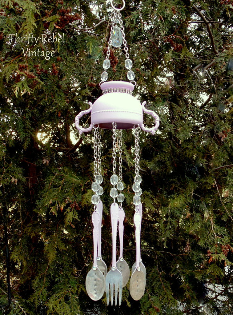 Spray Painted Sugar Bowl and Silverware Wind Chime