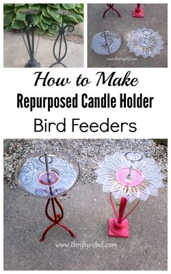 How to make repurposed candale holder bird feeders