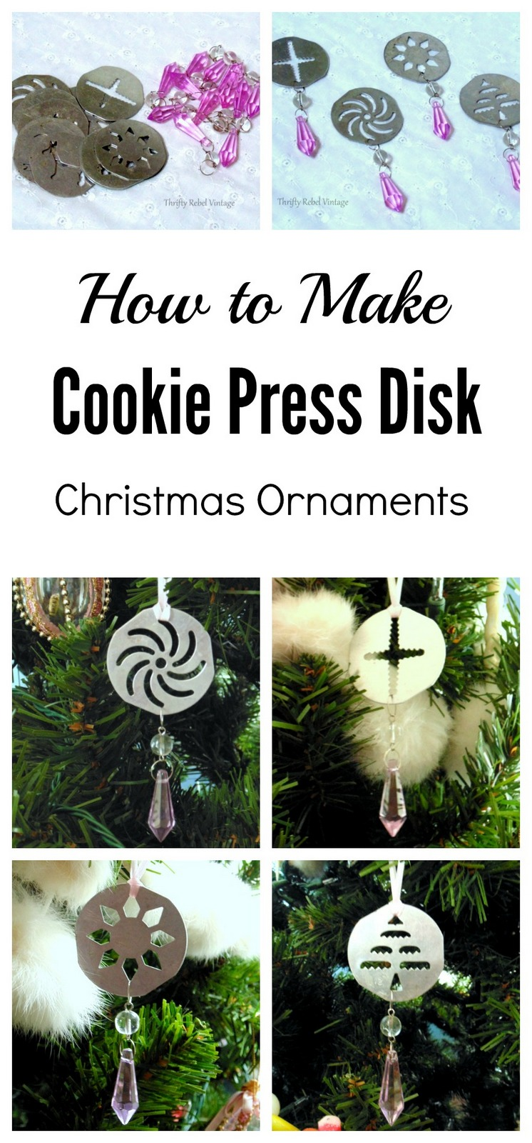 How to make vintage cookie press disk Christmas ornaments