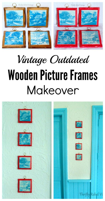 Vintage wooden picture frames makeover
