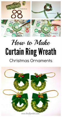 How to make curtain ring wreath Christmas ornaments