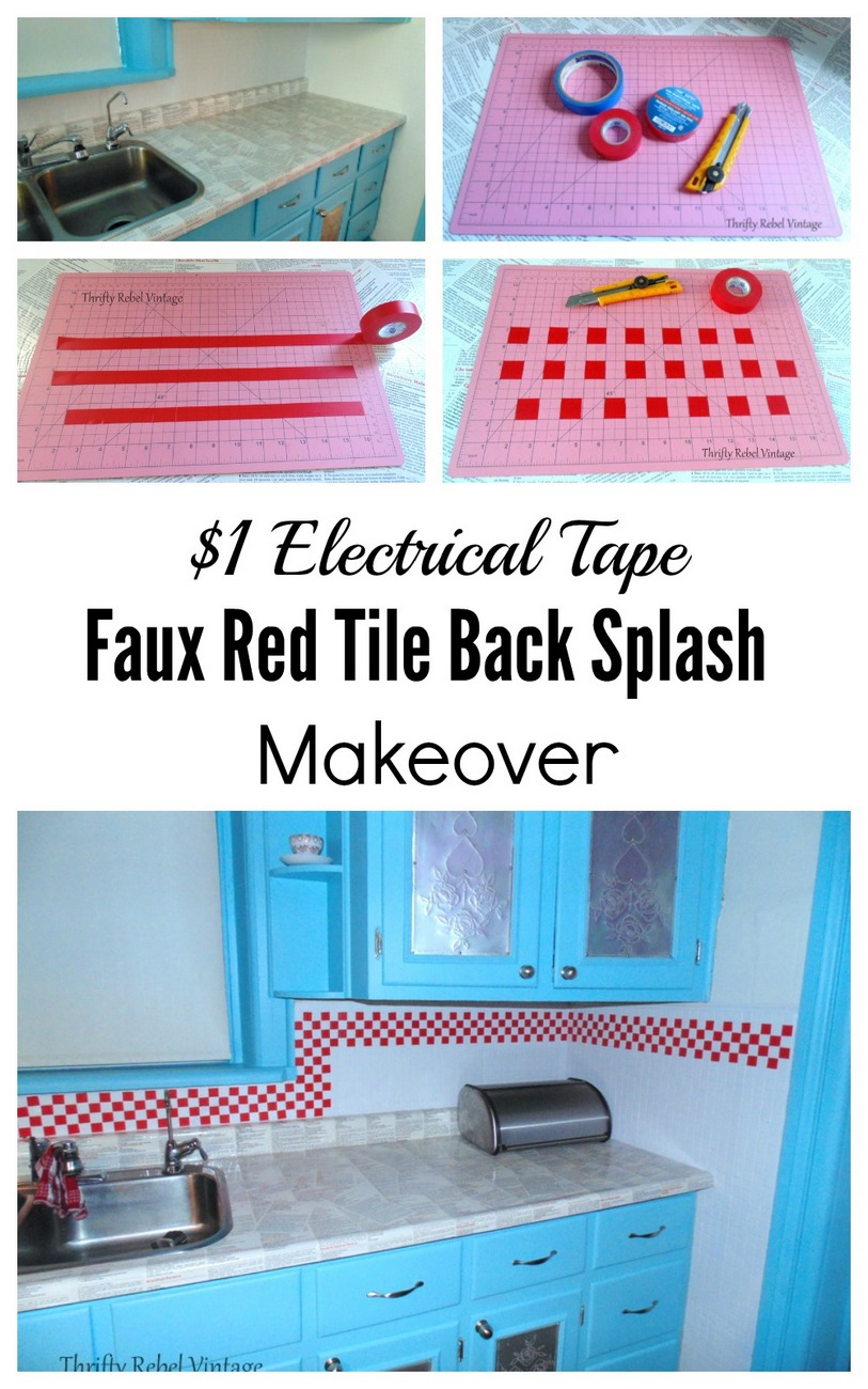 $1 electrical tape faux tile back splash