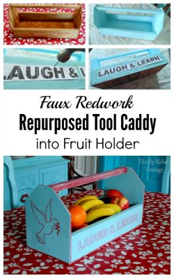 Repurposed tool caddy into fruit holder