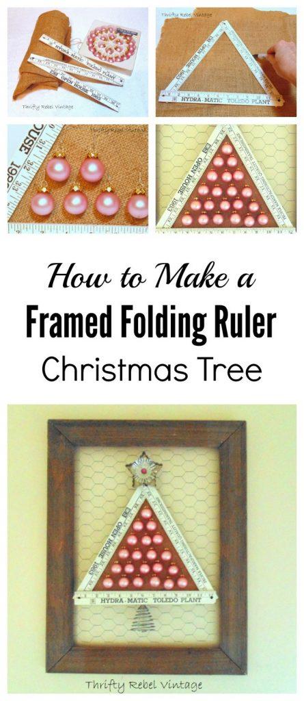 How to make a framed folding ruler Christmas tree
