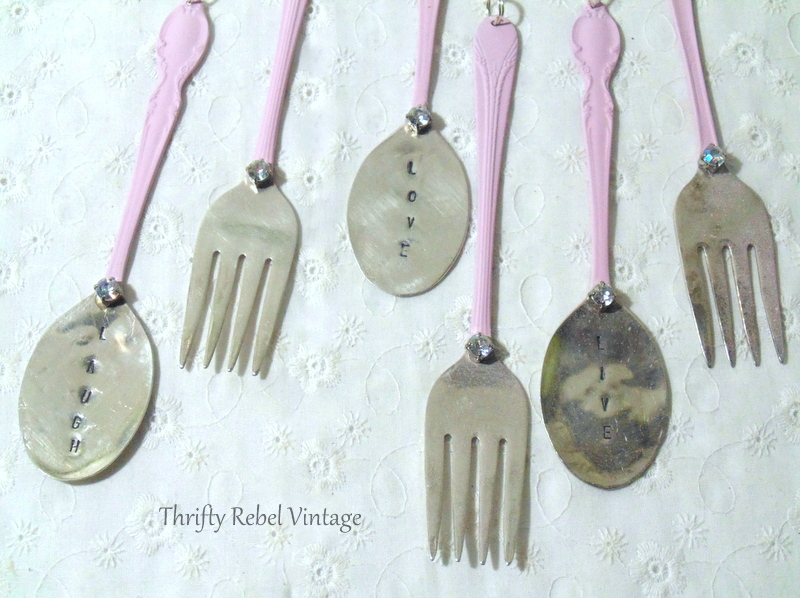 gluing faux rhinestone onto silverware wind chimes
