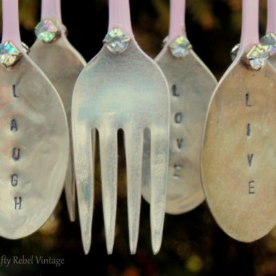hand stamped silverware painted pink for sugar garden wind chime