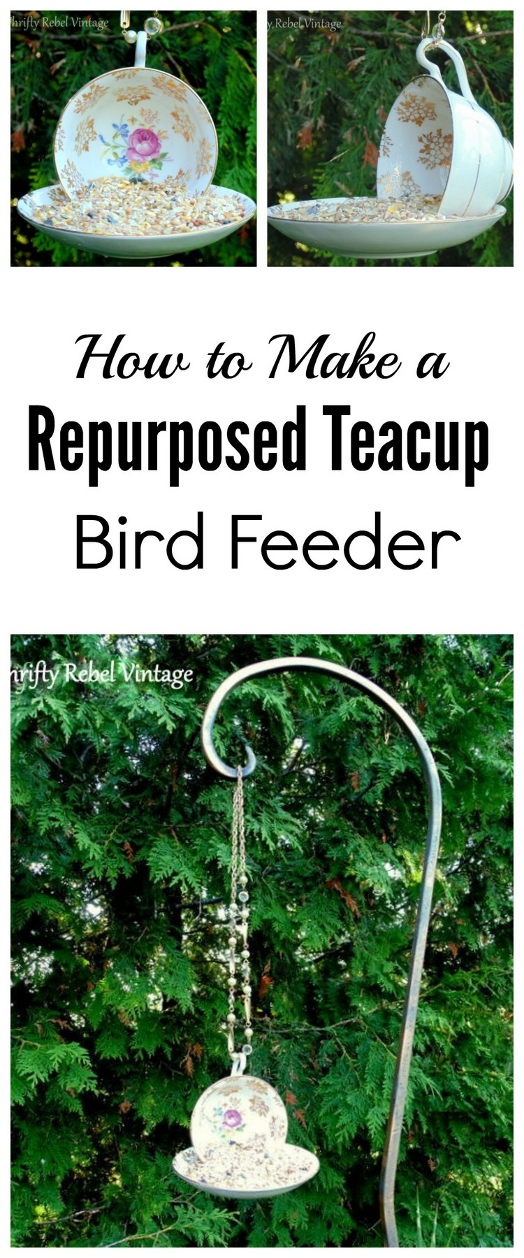 How to make a hanging teacup bird feeder thrifty rebel for How to build a bird feeder easy