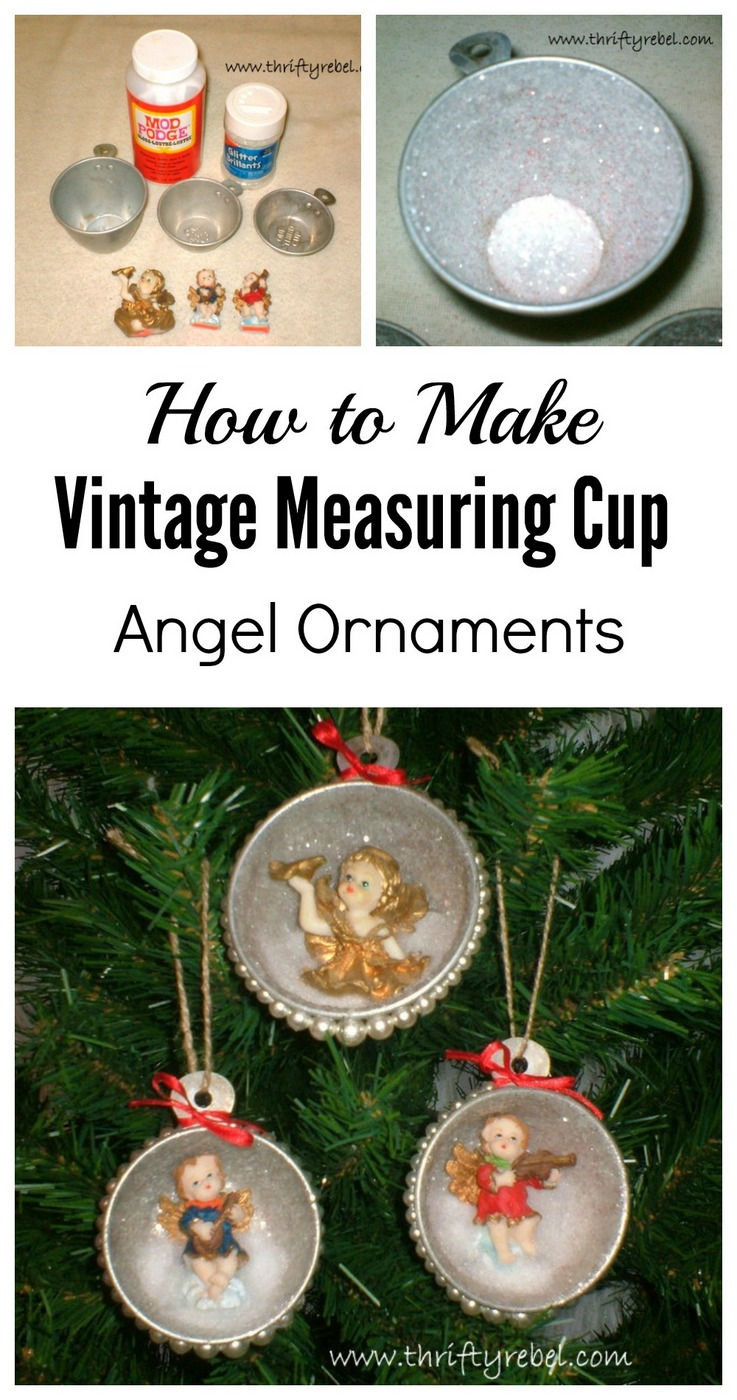 How to make vintage measuring cup angel ornaments