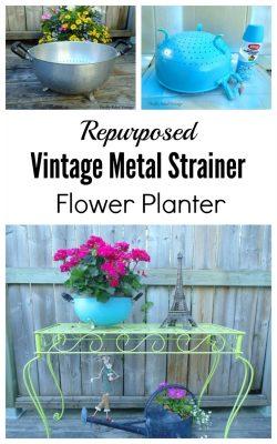 Repurposed vintage metal strainer planter